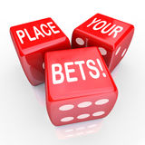 Place Your Bets Dice Gambling Future Opportunity Guess Stock Photos