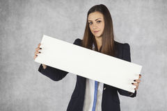 Place your link, businesswoman advertising Stock Image