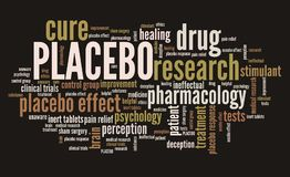 Placebo. In drug research and pharmacology. Word cloud sign Stock Photography