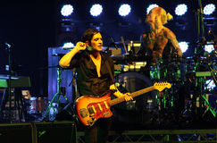 Placebo e Brian Molko do grupo de rock no concerto no palácio do esporte sábado 22 de setembro de 2012 em Minsk, Bielorrússia Fotografia de Stock Royalty Free