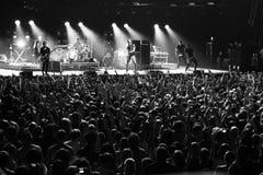 Placebo e Brian Molko do grupo de rock no concerto no palácio do esporte sábado 22 de setembro de 2012 em Minsk, Bielorrússia Imagem de Stock