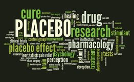 Placebo. Effect in drug research and pharmacology. Word cloud sign Stock Photos