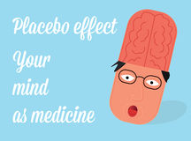 Placebo effect vector illustration. Medicine in mind. Stock Photography