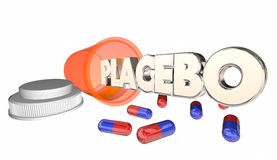 Placebo Fake Medicine False Cure Bottle Word Stock Images
