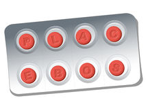 Placebo Pills Blister. Red pills with relief letters that say PLACEBO. Isolated vector illustration on white background Royalty Free Stock Photos