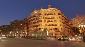 Casa Mila La Pedrera of Antoni Gaudi in Barcelona Time Lapse from Day to Night. Placed in the golden mile at Passeig de Gracia, the Casa Mila is one of the most stock footage