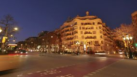 Casa Mila La Pedrera of Antoni Gaudi in Barcelona Time Lapse from Day to Night. Placed in the golden mile at Passeig de Gracia, the Casa Mila is one of the most stock video footage