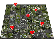 Placemark favorite places town map place marker. Placemark favorite places in your town map with google style heart shape place markers Stock Photography