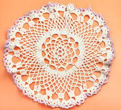 Placemat with embroidered crochet lace. Vintage knitting craftsmanship - placemat with embroidered crochet lace Royalty Free Stock Image