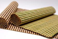Placemats de madeira de bambu Imagens de Stock