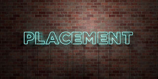 PLACEMENT - fluorescent Neon tube Sign on brickwork - Front view - 3D rendered royalty free stock picture Royalty Free Stock Photography