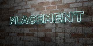 PLACEMENT - Glowing Neon Sign on stonework wall - 3D rendered royalty free stock illustration Royalty Free Stock Images