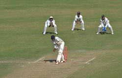 Placement During Ranji Trophy  Cricket Match. Placement Technique display by a batsman during Ranji Trophy  Cricket Match at Indore Royalty Free Stock Photos