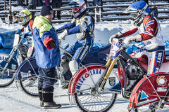Placement at the start. Russia. The Republic Of Bashkortostan. The Ufa. Racing on ice. The Championship Of Russia. A final . February 1, 2014 Royalty Free Stock Image
