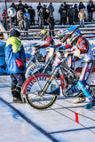 Placement on the starting line. Russia. The Republic Of Bashkortostan. The Ufa. Racing on ice. The Championship Of Russia. A final . February 1, 2014 Royalty Free Stock Photos