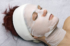 Placenta-collagen mask. Placenta-collagen face and neck mask royalty free stock image