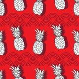 Placer de la Surco-fruta de la piña Ejemplo inconsútil del modelo de la repetición Fondo en blanco y gris rojos stock de ilustración