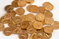Placer gold coins. Russian ten-coin. Royalty Free Stock Photos