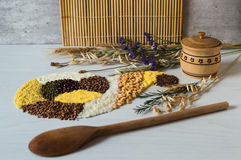 Placer of grains and cereals in form of horn of plenty. Wooden solt shakie with a lid and wooden spoon. Stock Image