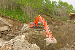 Placer mining at a small claim in the yukon territories stock images