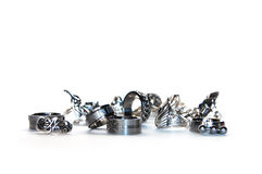 A Placer of Rings. Silver, steel and cupronickel rings arranged artistically stock photo
