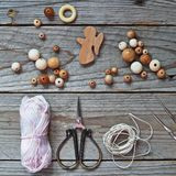Placer of wooden beads royalty free stock photography