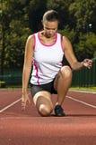 placera att sprinta kvinnabarn arkivbild