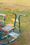 Placera av barnkarusell i lekplats Fotografering för Bildbyråer