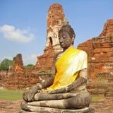 Placerad Buddha i ayuttahaya Arkivbilder