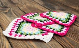 Places de plaid multicolores d'à crochet Photographie stock
