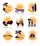 Icons of summer activities Royalty Free Stock Photography