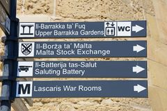 Places of interest sign, Valletta. Royalty Free Stock Image