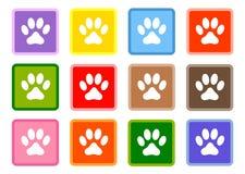 Places multicolores avec les icônes blanches de pattes réglées illustration de vecteur