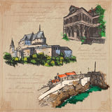 Places nad architecture - hand drawn vector pack Royalty Free Stock Image