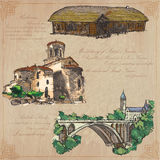 Places nad architecture - hand drawn vector pack Royalty Free Stock Photography
