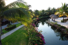 Places in the resort. Landscapes and types of places in tropical resorts at water Stock Image