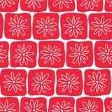 Places rouges tirées par la main avec les fleurs blanches sur un fond blanc Configuration sans joint de vecteur Perfectionnez pou illustration de vecteur