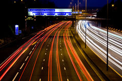 Places To Go. Trails of light on a busy motorway Royalty Free Stock Image