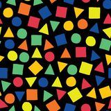 Places, triangles, et cercles dispersés en bleu, orange, rouge, vert, et jaune sur un fond noir Les formes géométriques remettent illustration de vecteur