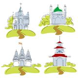 Places of Worship. Illustration of places of worship on isolated background royalty free illustration