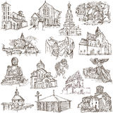 Places of Worship - freehand sketches on paper Stock Images