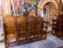 Places of worship in the temple of the Troyan Monastery in Bulgaria stock photography