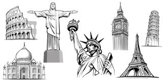 PlacesNYC destino-famoso del viaje, Londres Big Ben, Roma-coliseo, torre de París-Eiffel, Rio de Janeiro-Jesus Statue, NYC-estatu ilustración del vector