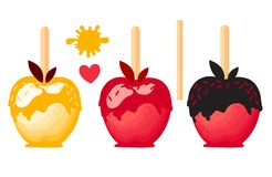 Placez Apple avec des caramels en sucrerie douce de lustre sur des bâtons Illustration de vecteur sur le fond blanc illustration stock