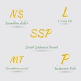 Placez avec cinq des devises centrales et sud-africaines illustration libre de droits