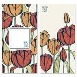 Placez avec de rétros cartes de vecteur avec les fleurs tirées par la main de tulipe et espace pour votre texte Image stock