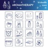 Placez avec des éléments d'Aromatherapy Illustration d'isolement par vecteur sur le fond blanc Images stock