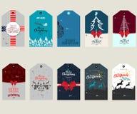 Placez avec des étiquettes de cadeau de Joyeux Noël et des éléments de conception de cartes photographie stock