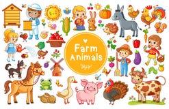 Placez avec des animaux de ferme illustration libre de droits
