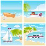 Placez avec des bateaux sur la plage Photographie stock
